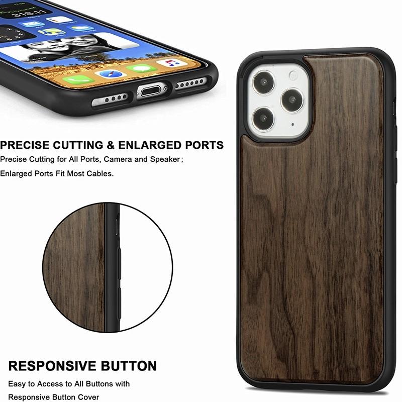 Mobiq - Houten Hoesje iPhone 13 Pro Max Walnoot - 4