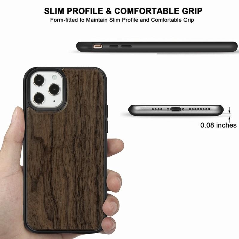 Mobiq - Houten Hoesje iPhone 13 Pro Walnoot - 3
