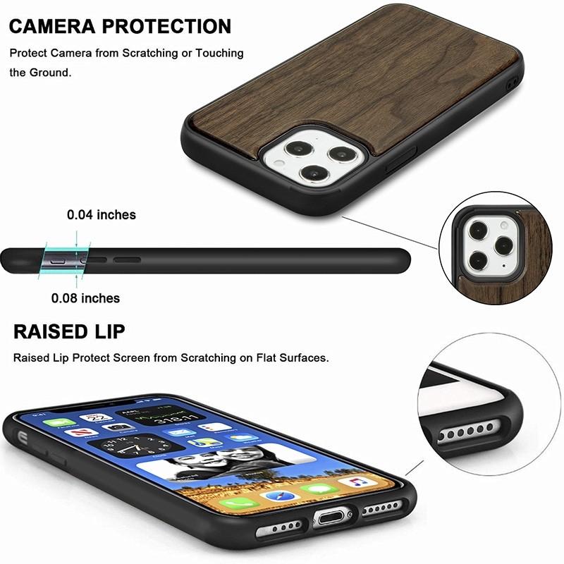 Mobiq - Houten Hoesje iPhone 13 Walnoot - 6