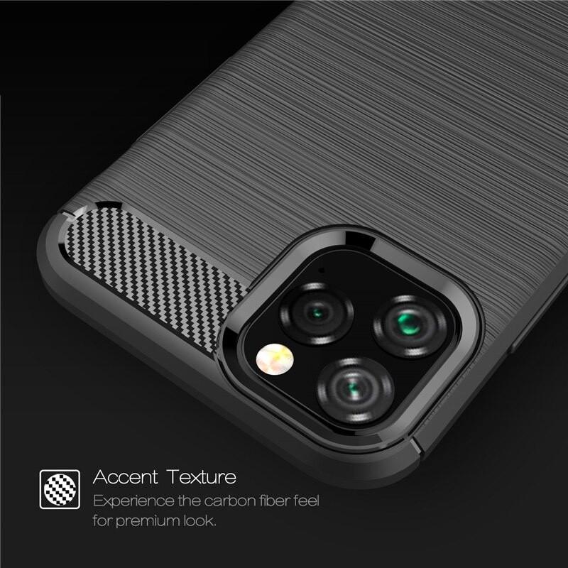 Mobiq Hybrid Carbon TPU Hoesje iPhone 11 Pro Max Zwart - 4