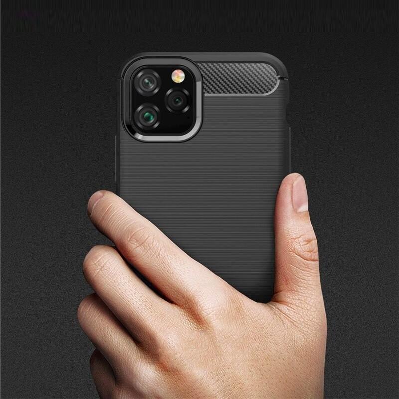 Mobiq Hybrid Carbon TPU Hoesje iPhone 11 Pro Max Zwart - 6