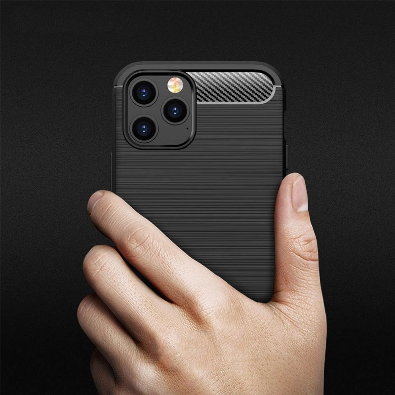 Mobiq Hybrid Carbon Hoesje iPhone 12 Mini Zwart - 4