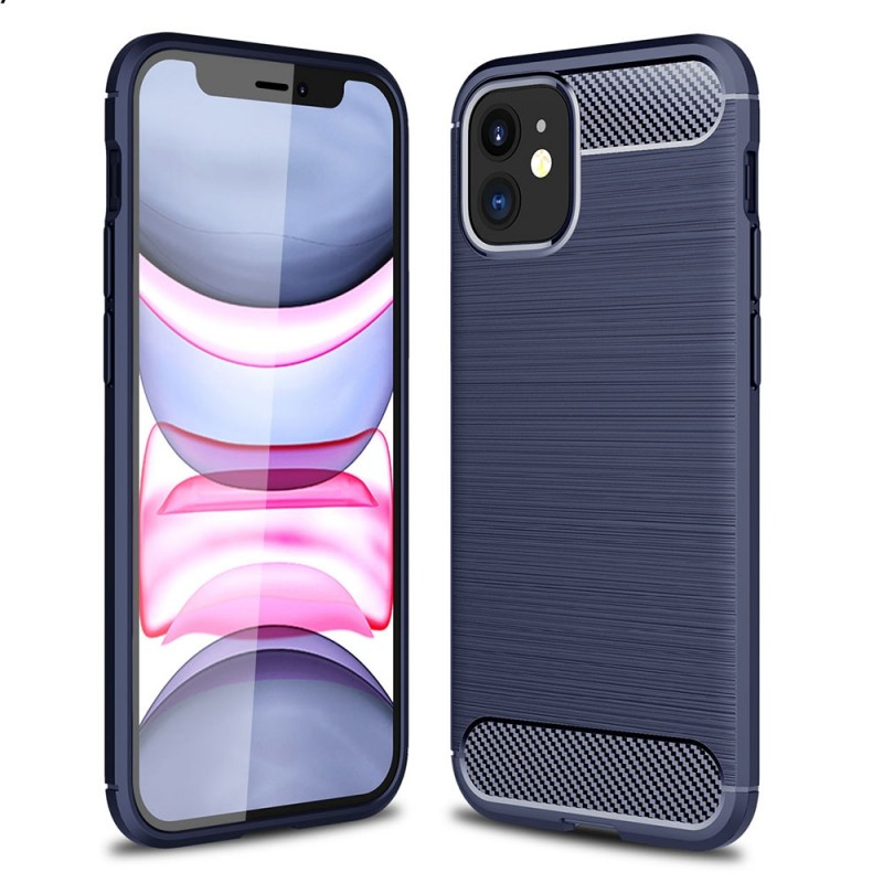 Mobiq Hybrid Carbon Hoesje TPU iPhone 13 Blauw - 1