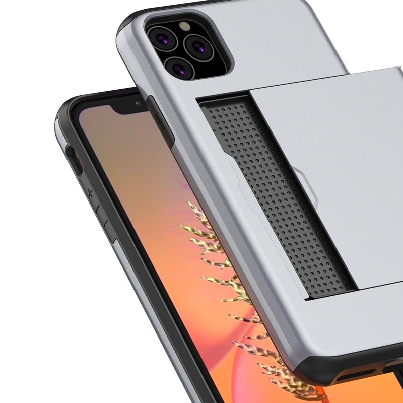 Mobiq Hybrid Card Case iPhone 11 Pro Max Grijs - 2