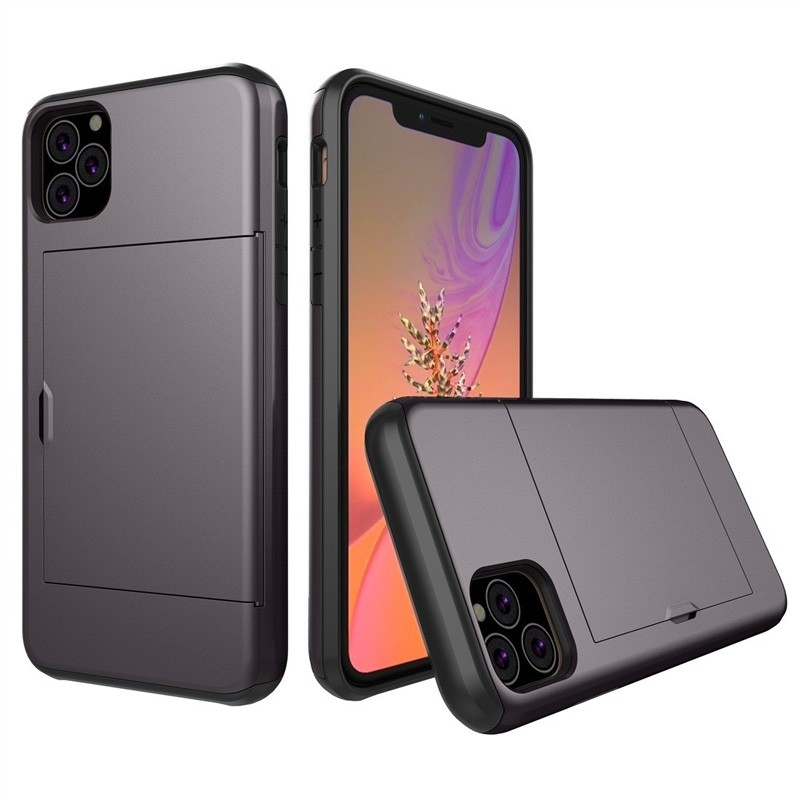 Mobiq Hybrid Card Case iPhone 11 Pro Max Grijs - 1