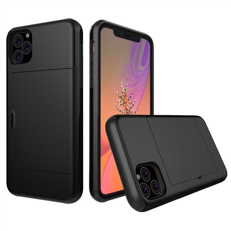 Mobiq Hybrid Card Case iPhone 11 Pro Max Zwart - 1
