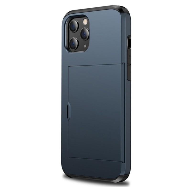 Mobiq Hybrid Card Hoesje iPhone 12 / 12 Pro Blauw - 1