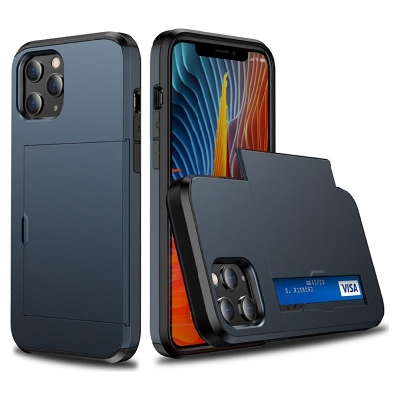 Mobiq Hybrid Card Hoesje iPhone 12 / 12 Pro Blauw - 2