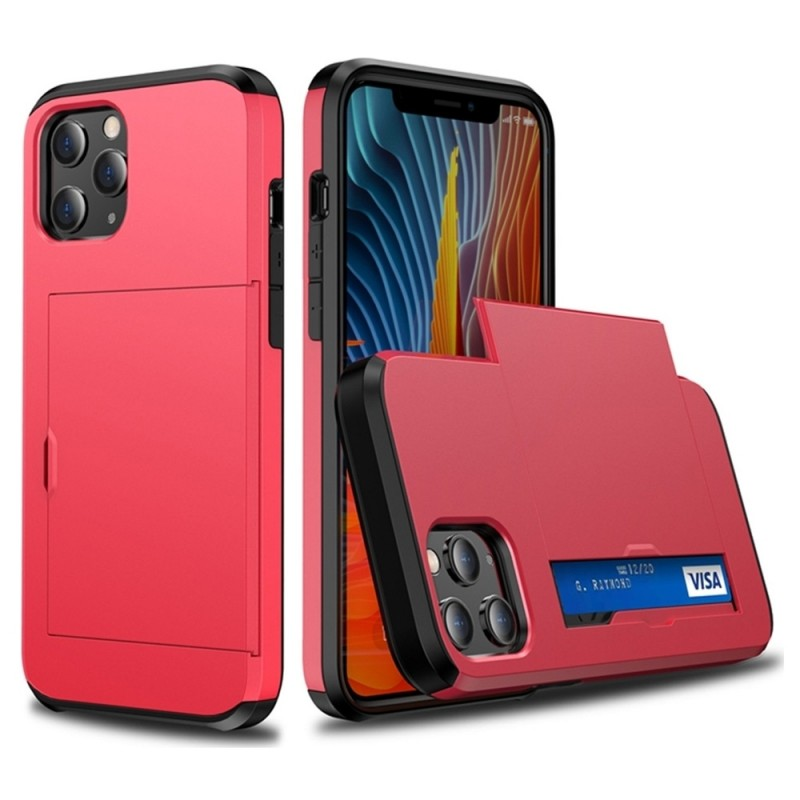 Mobiq Hybrid Card Hoesje iPhone 12 / 12 Pro Rood - 2