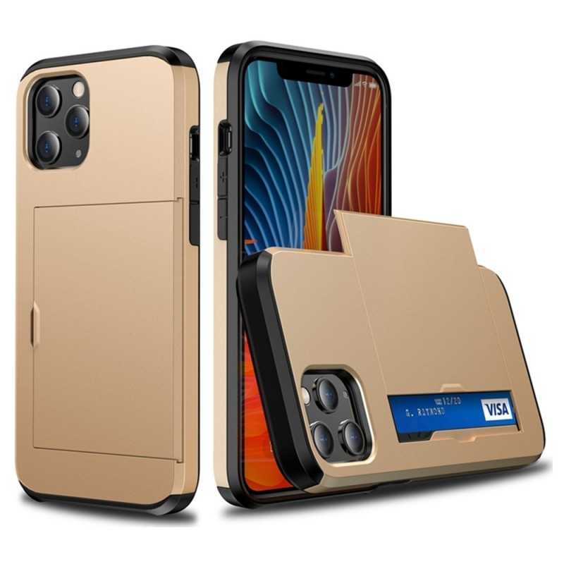Mobiq Hybrid Card Hoesje iPhone 12 Mini Goud - 2