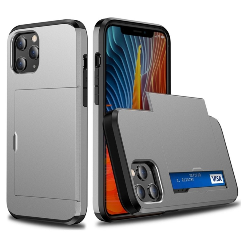 Mobiq Hybrid Card Hoesje iPhone 12 Pro Max Grijs - 2
