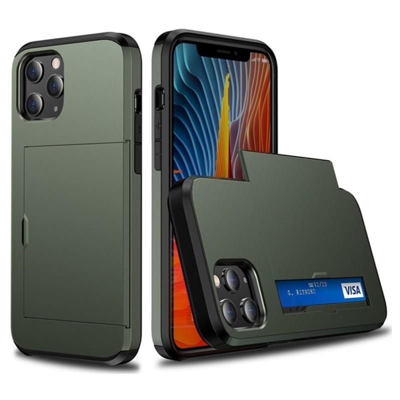 Mobiq Hybrid Card Hoesje iPhone 13 Mini Groen - 1