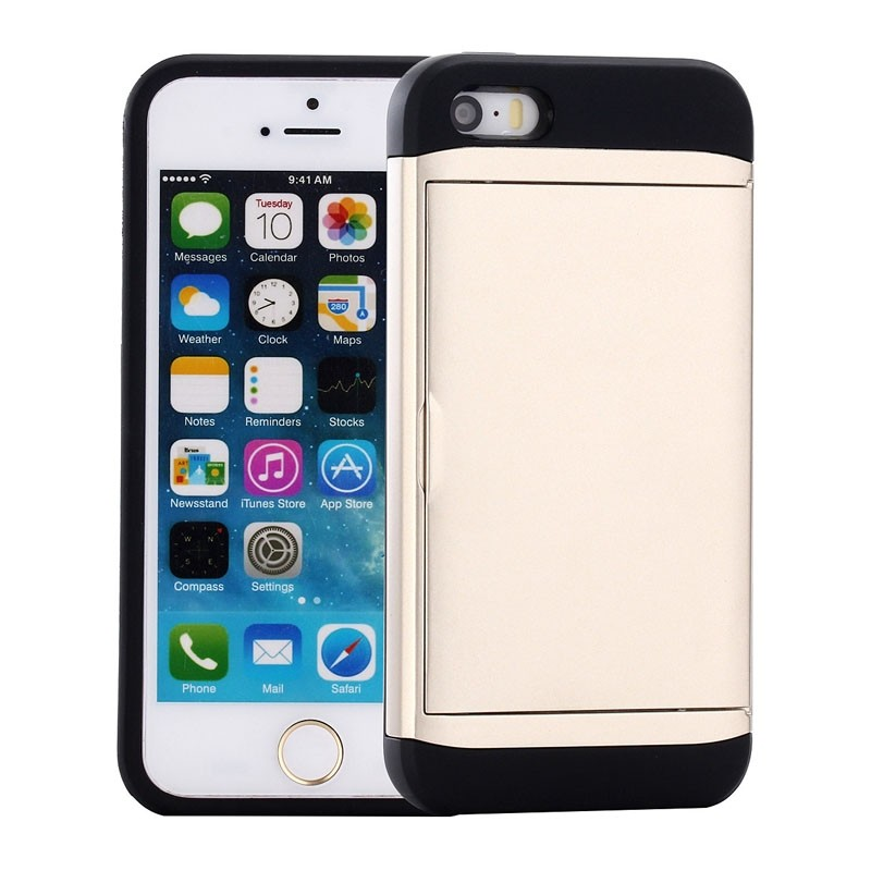 Mobiq Hybrid Card Case iPhone 8/7 Goud - 1