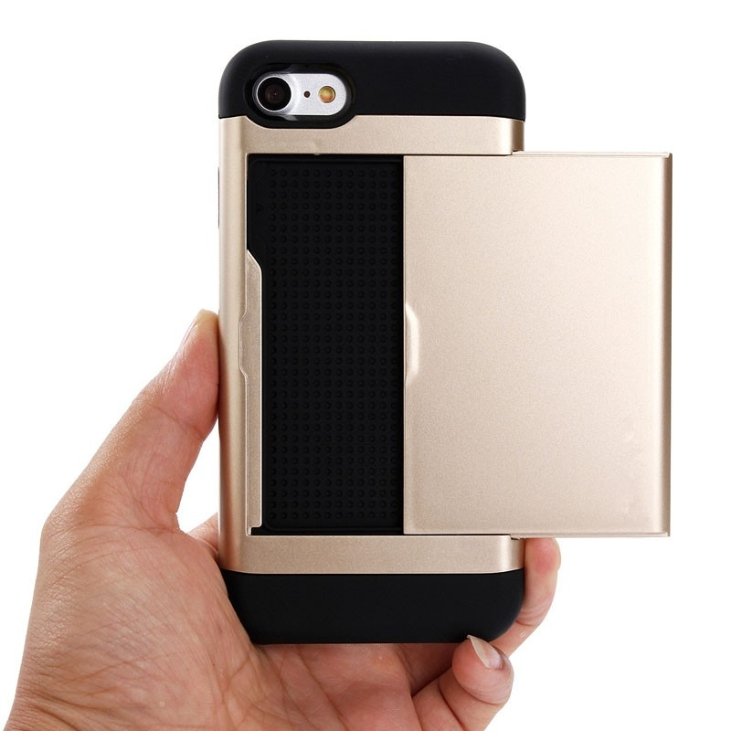 Mobiq Hybrid Card Case iPhone 8/7 Goud - 2