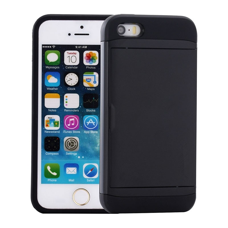 Mobiq Hybrid Card Case iPhone SE (2020)/8/7 Zwart - 1