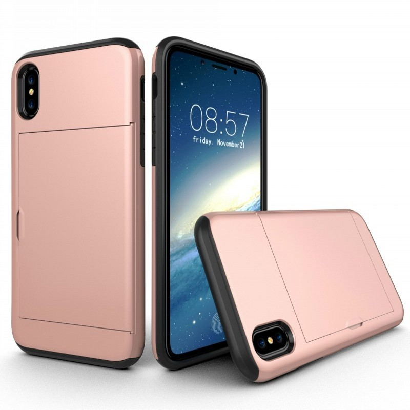 Mobiq Hybrid Card Case iPhone XR Roze - 1