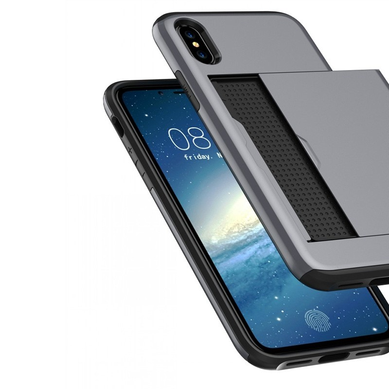 Mobiq Hybrid Card Case iPhone XR Grijs - 4