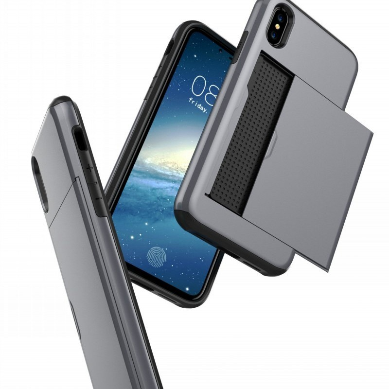 Mobiq Hybrid Card Case iPhone XR Grijs - 3