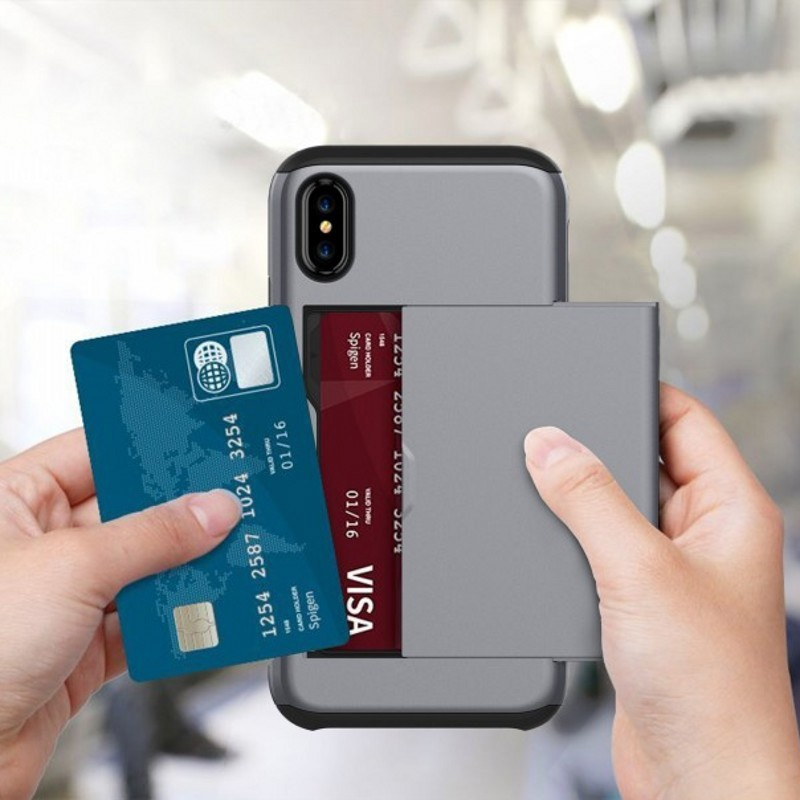 Mobiq Hybrid Card Case iPhone X/XS Grijs - 2