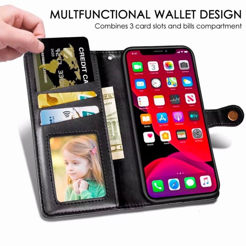 Mobiq Klassieke Wallet Case iPhone 12 Mini Zwart - 5