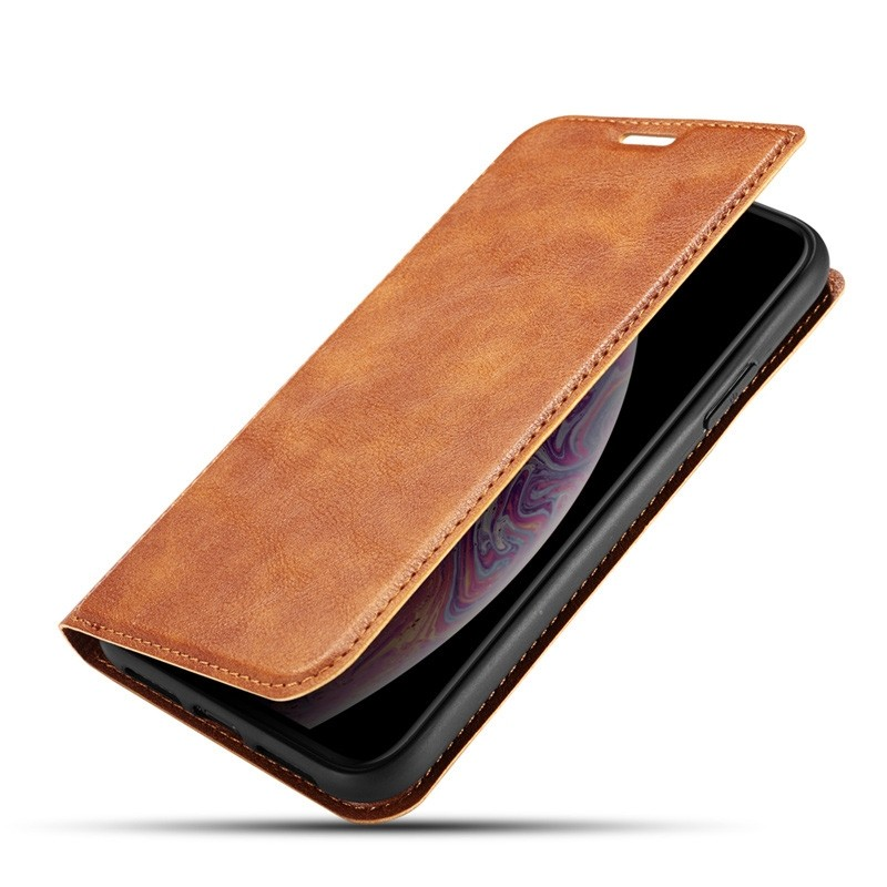 Mobiq - Slim Magnetic Wallet iPhone 11 Pro Max Bruin - 1