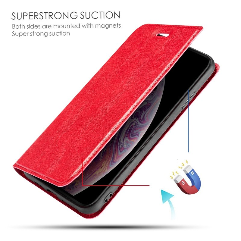 Mobiq - Slim Magnetic Wallet iPhone 11 Pro Max Rood - 6
