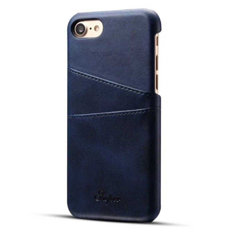 Mobiq Leather Snap On Wallet iPhone SE (2020)/8/7 Blauw - 1