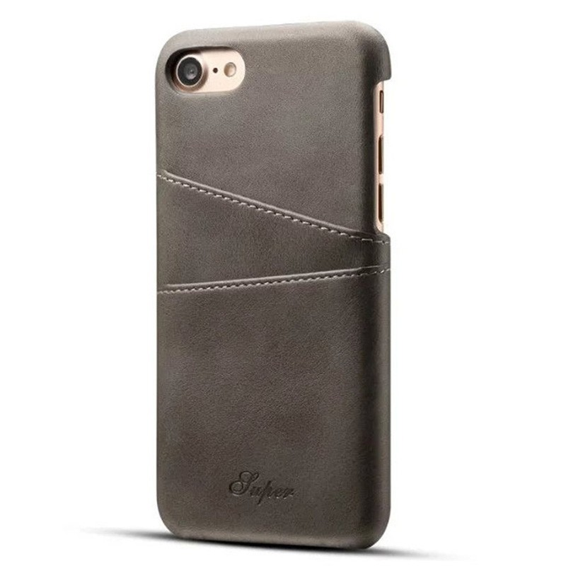 Mobiq Leather Snap On Wallet iPhone 8/7 Grijs - 1