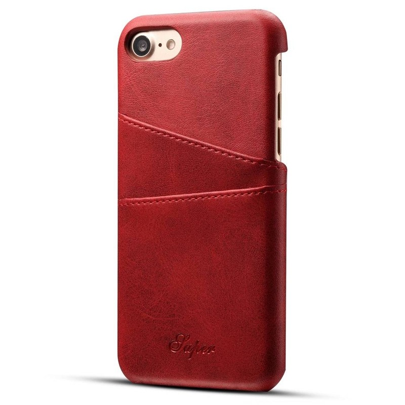 Mobiq Leather Snap On Wallet iPhone SE (2020)/8/7 Rood - 1