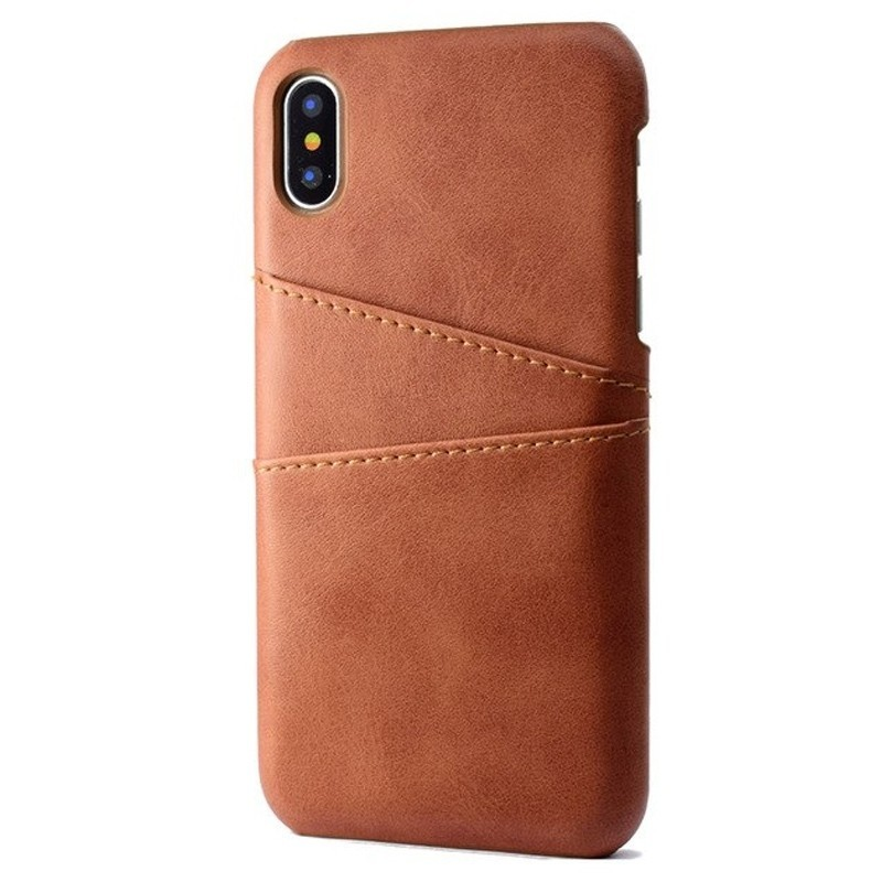 Mobiq Leather Snap On Wallet iPhone XR donkerbruin 01