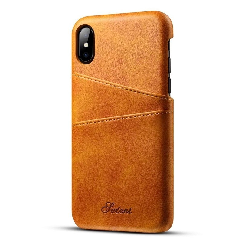 Mobiq Leather Snap On Wallet iPhone XR Tan bruin 01