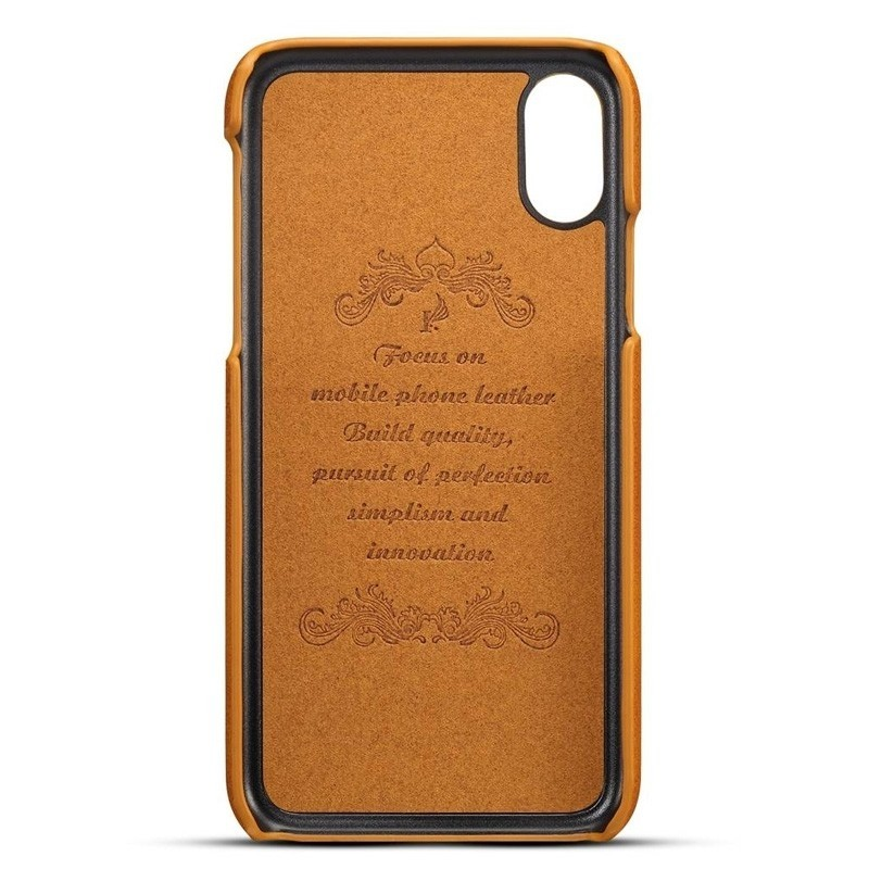 Mobiq Leather Snap On Wallet iPhone XR Tan bruin 02