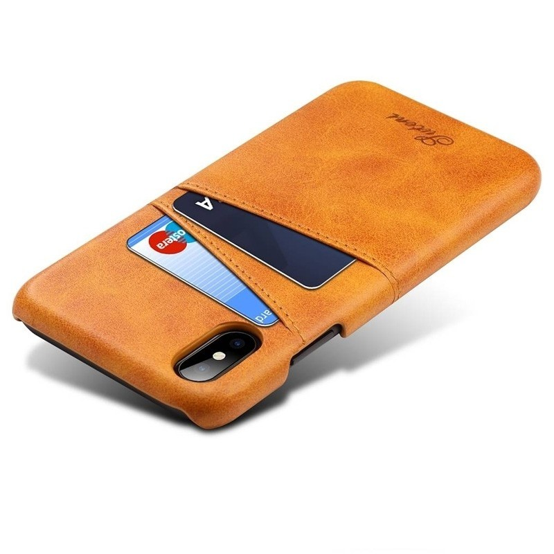 Mobiq Leather Snap On Wallet iPhone XR Tan bruin 03