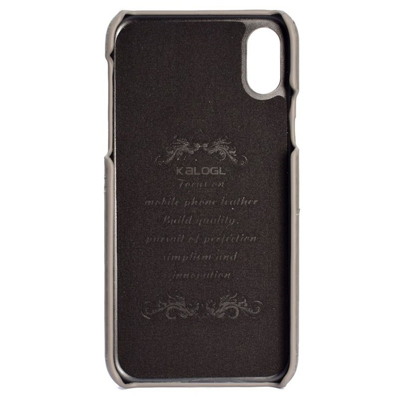 Mobiq Leather Snap On Wallet iPhone XS Max Grijs 02