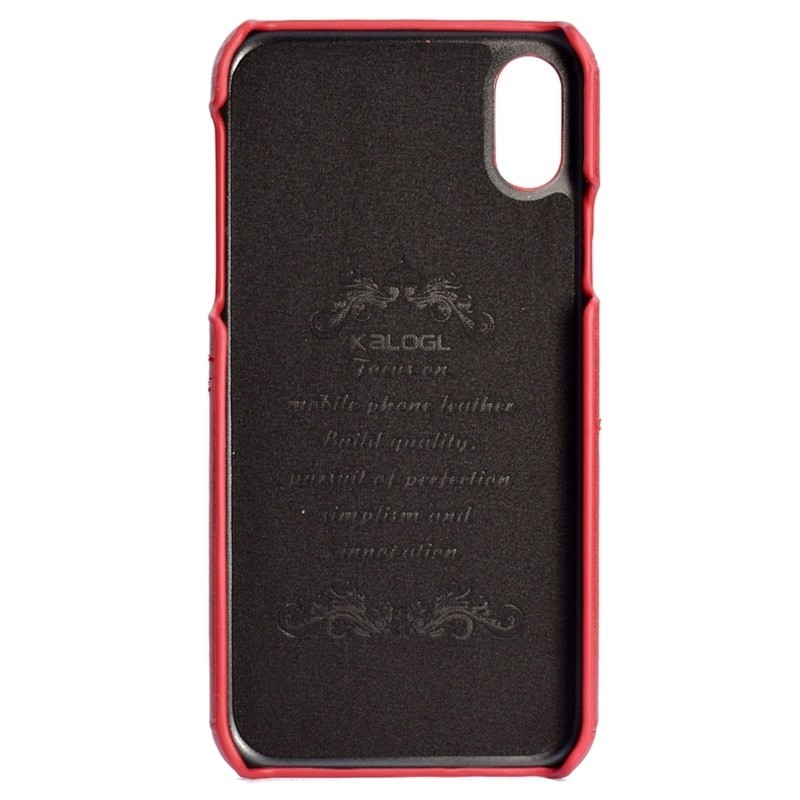 Mobiq Leather Snap On Wallet iPhone XS Max Rood 02