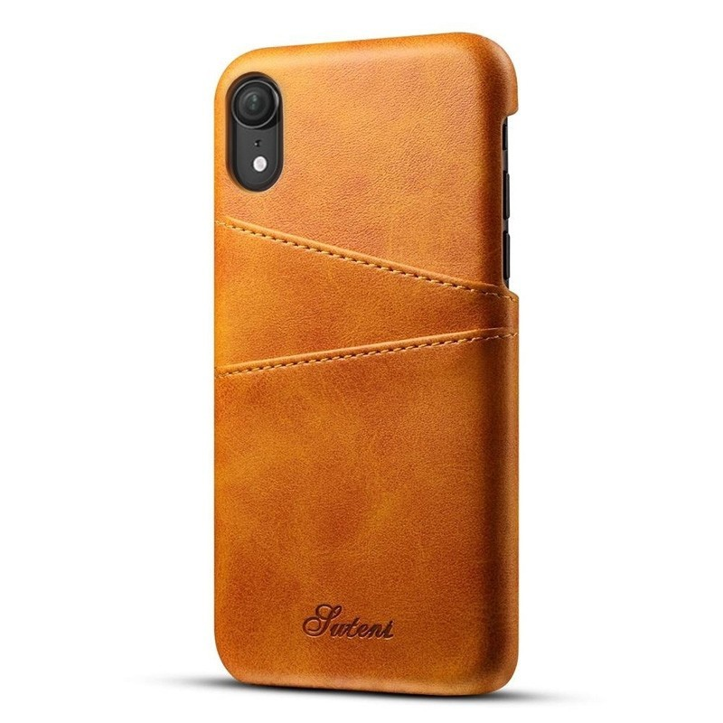 Mobiq Leather Snap On Wallet iPhone XS Max Tan bruin 01