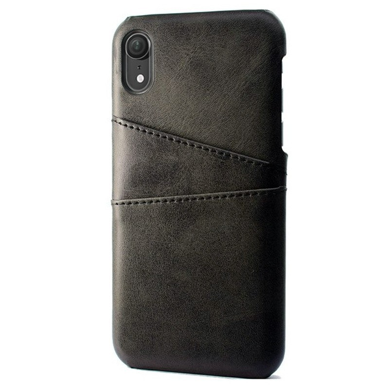 Mobiq Leather Snap On Wallet iPhone XS Max Zwart 01