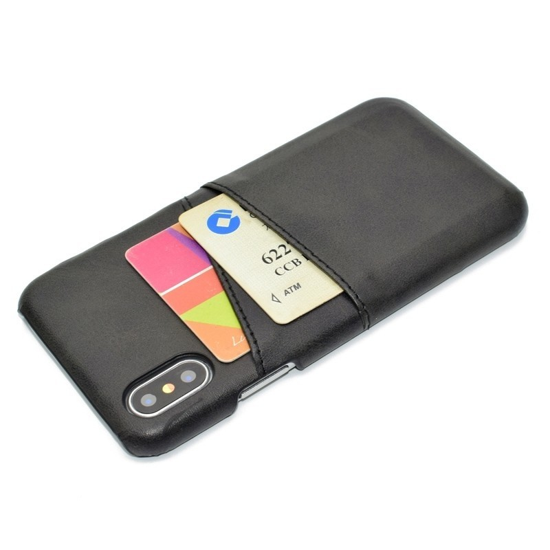 Mobiq Leather Snap On Wallet iPhone XS Max Zwart 03