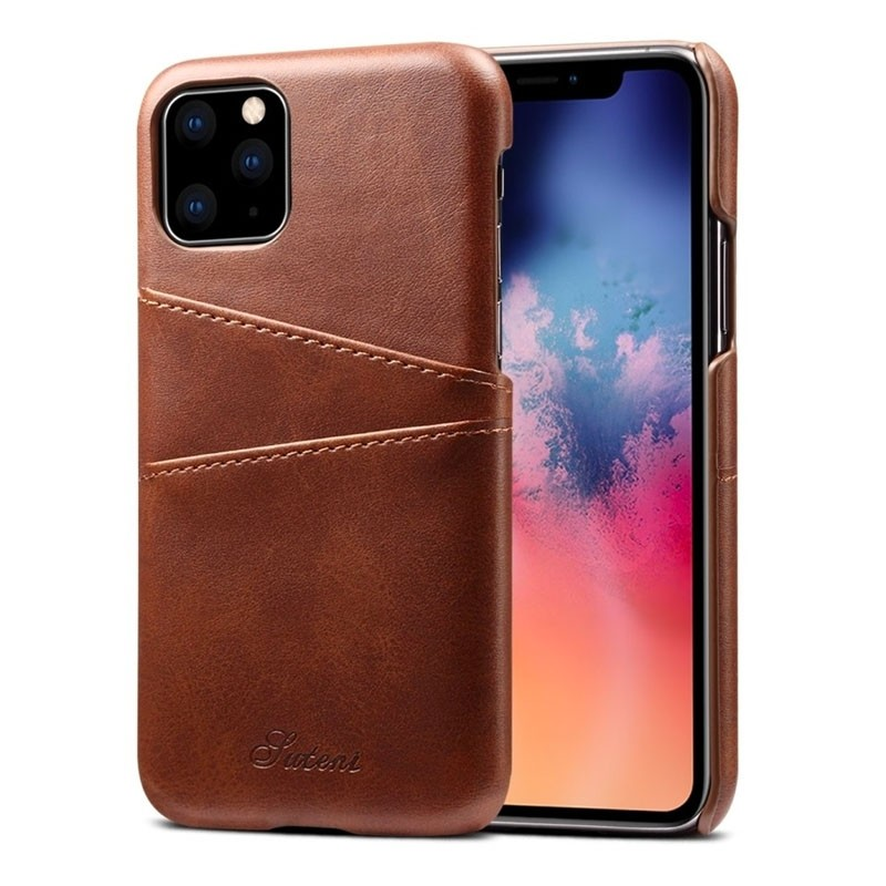 Mobiq Leather Snap On Wallet iPhone 11 Donkerbruin - 1