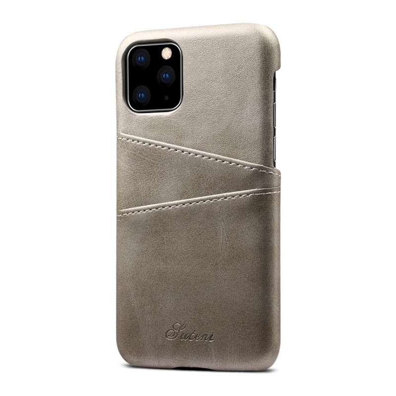 Mobiq Leather Snap On Wallet iPhone 11 Grijs - 2