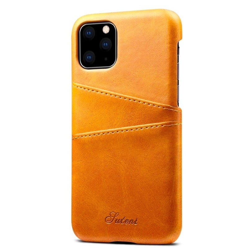 Mobiq Leather Snap On Wallet iPhone 11 Pro Max Tan Brown - 2