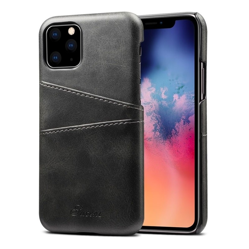 Mobiq Leather Snap On Wallet iPhone 11 Zwart - 1