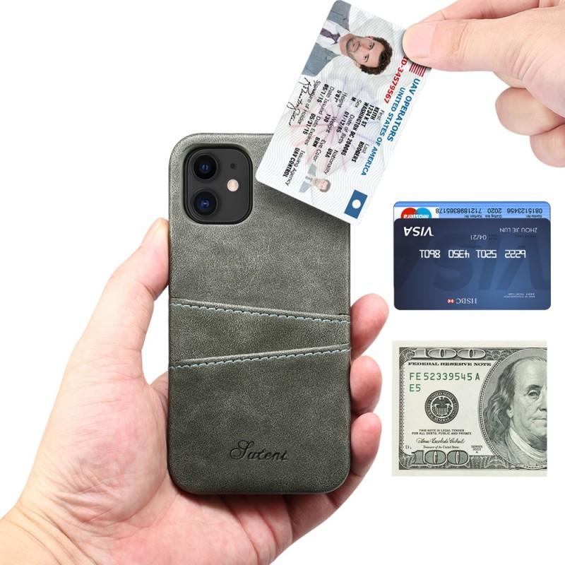 Mobiq Leather Snap On Wallet iPhone 13 Mini Grijs - 2