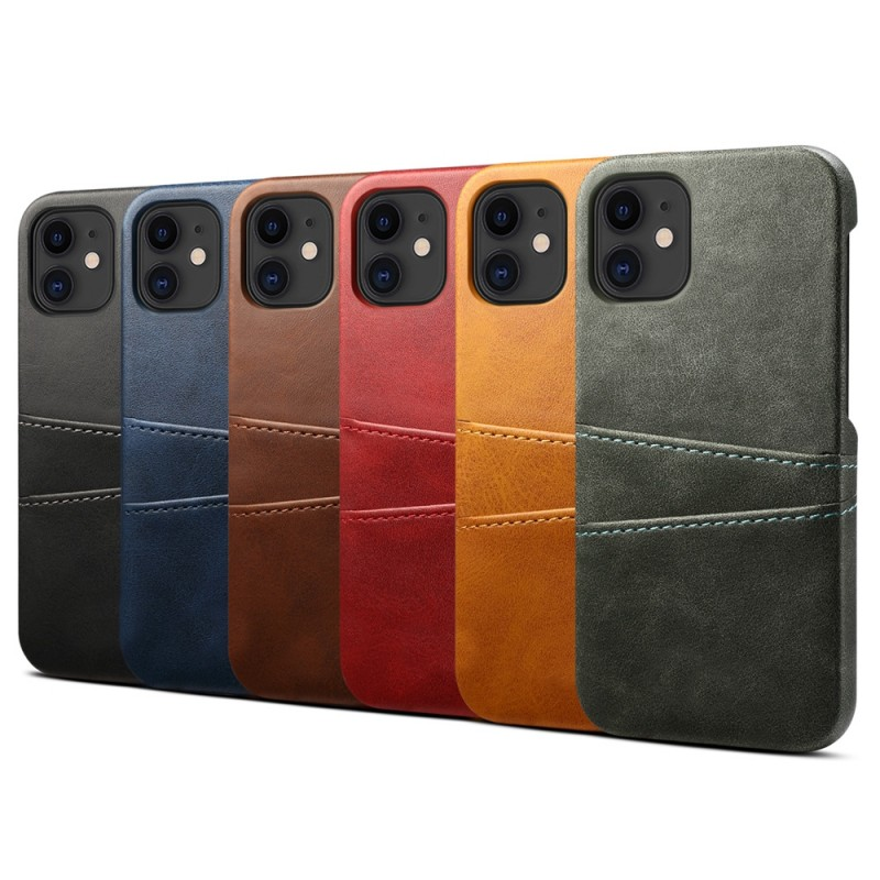 Mobiq Leather Snap On Wallet iPhone 13 Mini Lichtbruin - 3