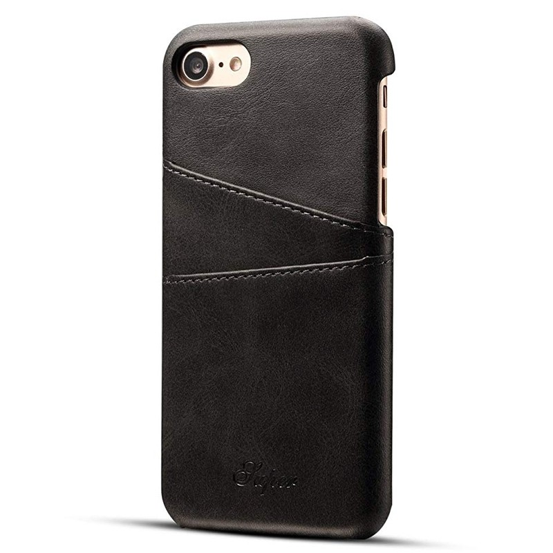 Mobiq Leather Snap On Wallet Case iPhone SE (2020)/8/7 Zwart 01