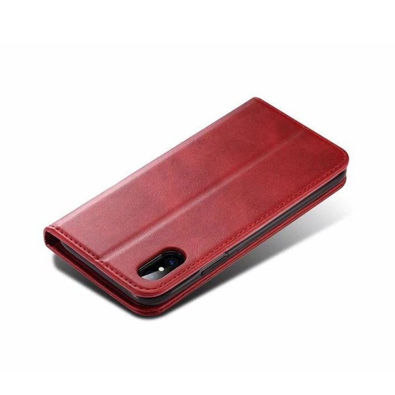 Mobiq Lederen iPhone X/Xs Portemonnee Hoes Rood 03