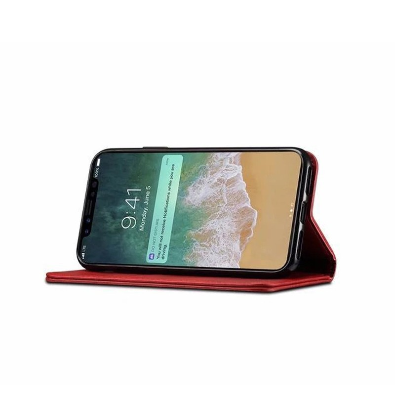 Mobiq Lederen iPhone X/Xs Portemonnee Hoes Rood 04
