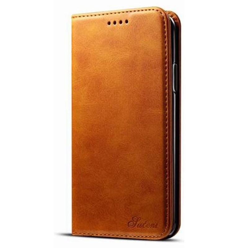Mobiq Lederen iPhone X/Xs Portemonnee Hoes Tan 01