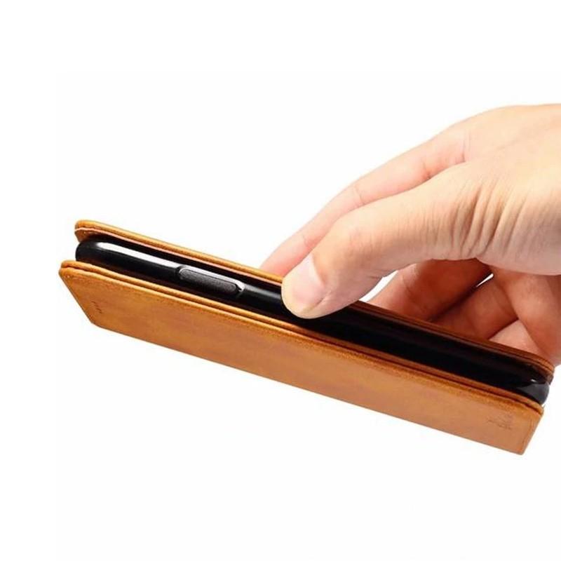 Mobiq Lederen iPhone X/Xs Portemonnee Hoes Tan 05