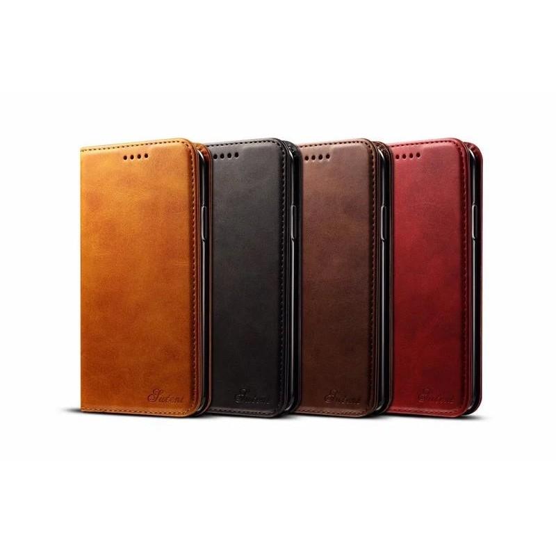 Mobiq Lederen iPhone X/Xs Portemonnee Hoes Tan 06